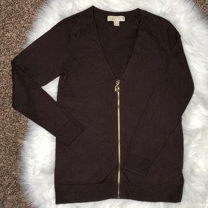 Michael Kors Brown Zippered Cardigan   Sweater